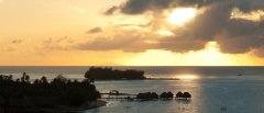 Sunset over Bora Bora, Society Islands, French Polynesia, South Pacific