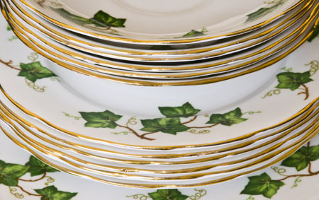 A stack of bone china plates